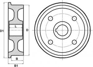 Колёса крановые одноребордные тип К1Р по ГОСТ 28648-90